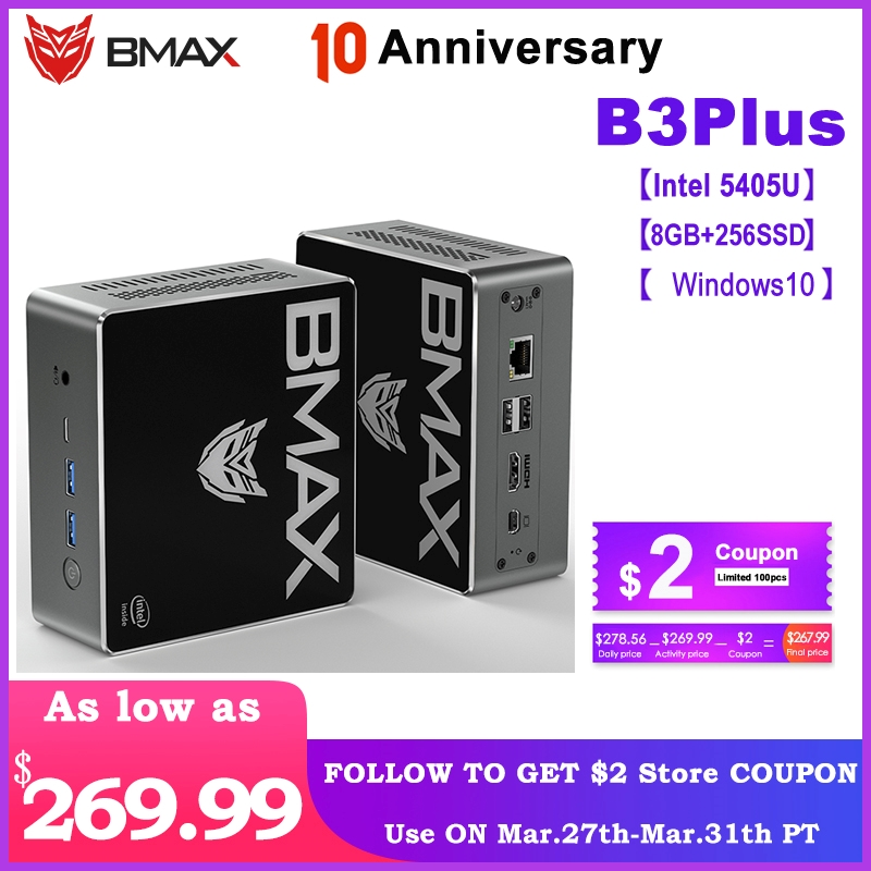 Bmax B3 Plus Mini PC 8GB DDR4 256GB NVMe SSD With Two Channel Speaker Intel 9th Gen UHD Graphics 610 Dual Core 2.3GHz BT5.0 HDMI
