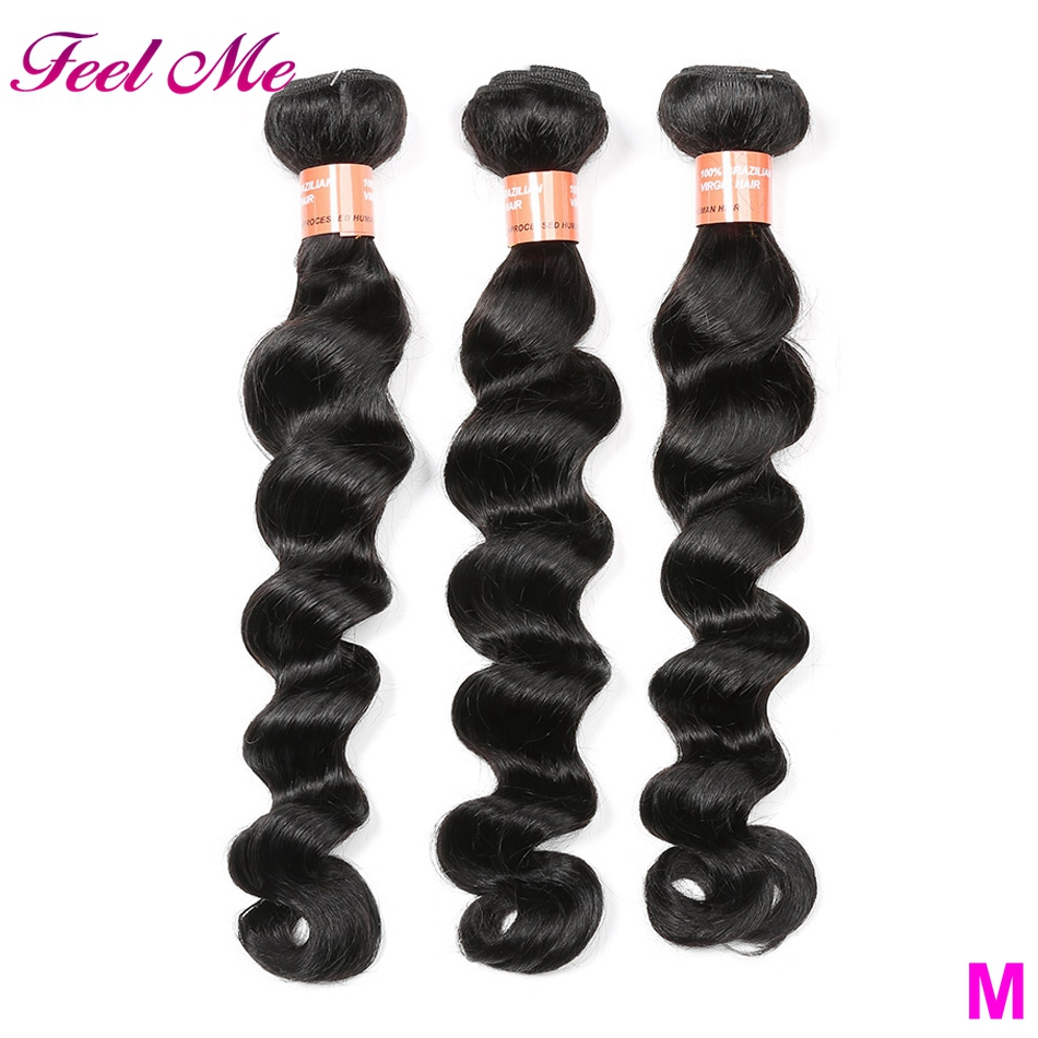 FEEL ME Brazilian Loose Deep Wave Bundles 100% Human Hair Bundles Middle Ratio Non Remy Hair Weave Extensions 3/4 Bundles