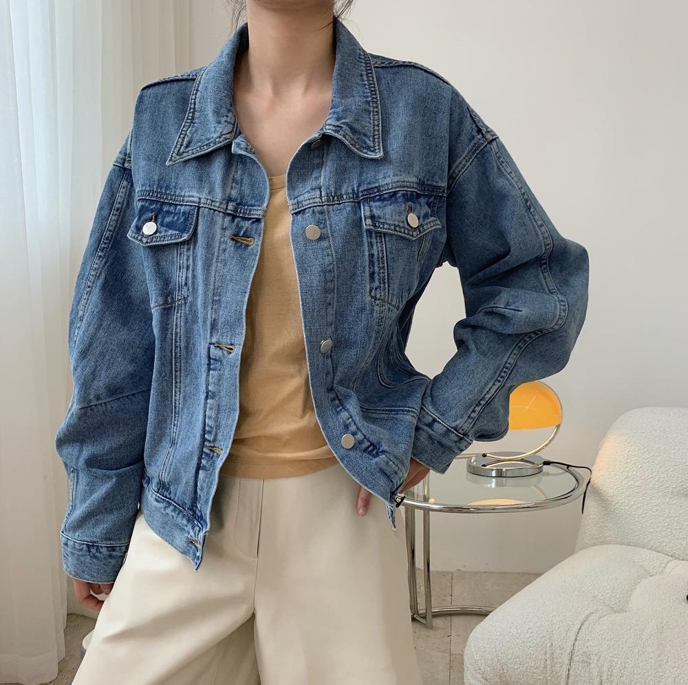 Женская джинсовая куртка Новинка осени 2020 короткая с отворотом