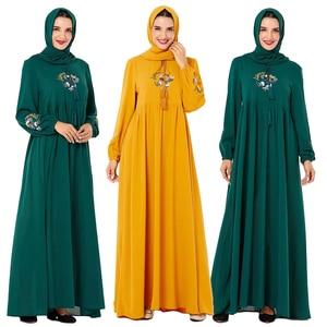 Image 1 - Повседневное женское Платье макси с вышивкой в исламском стиле, кафтан плюс, винтажные свободные молитвенные платья, одежда из Турции, халат, Новинка