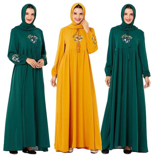 Повседневное женское Платье макси с вышивкой в исламском стиле, кафтан плюс, винтажные свободные молитвенные платья, одежда из Турции, халат, Новинка