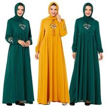 Casual abaya feminino muçulmano maxi vestido bordado islâmico kaftan mais vestidos de oração solta do vintage turquia roupas vestes vestido novo