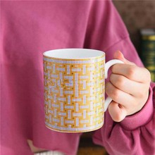 European Style Bone China Coffee mug High Grade Afternoon Tea Cups Ceramic Mug 300 ml for Milk Black