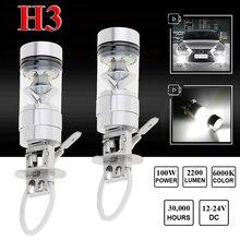 2шт H3 LED туман света 100W Супер яркие Обломоки вождение автомобиля лампа 12/24V белый авто фары лампы автомобилей стайлинг аксессуары