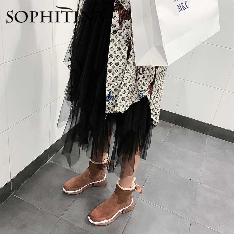 SOPHITINA kış sıcak botlar yüksek kaliteli inek süet rahat yuvarlak ayak kama moda şerit ayakkabı ayak bileği kadın kar botları PO312