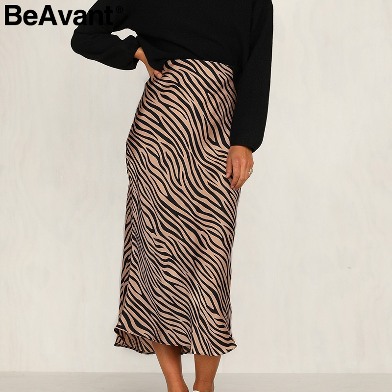 BeAvant Zebra Stripe Women Midi Skirt High Waist Straight Animal Print Female Bottom Skirt Leisure Party Night Club Ladies Skirt