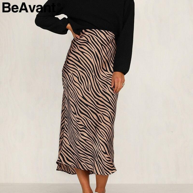 BeAvant Zebra Stripe Women Midi Skirt High Waist Straight Animal Print Female Bottom Skirt Leisure Party Night Club Ladies Skirt