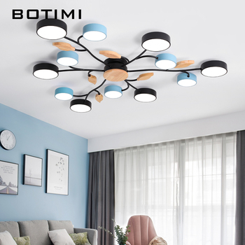 BOTIMI New Arrival Art DECO LED Ceiling Lights For Foyer Modern Gray Metal With Wood Bedroom Lamp Blue Black Rooms Light Fixture 1