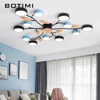 BOTIMI New Arrival Art DECO LED Ceiling Lights For Foyer Modern Gray Metal With Wood Bedroom Lamp Blue Black Rooms Light Fixture