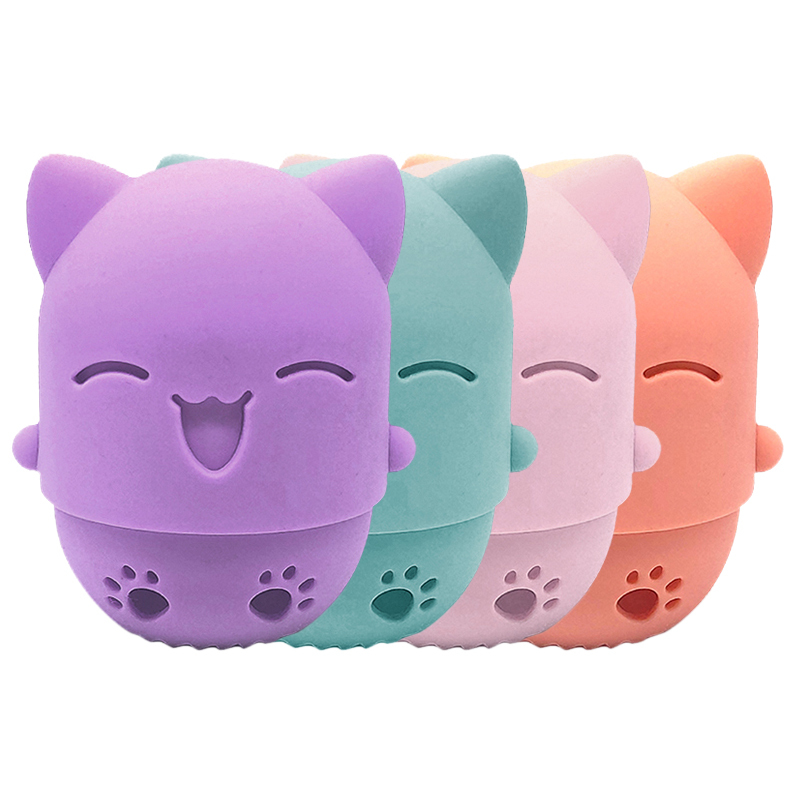 1PC Portable Kitten Beauty Powder Puff Holder Soft Silicone Sponge Makeup Egg Drying Case Cosmetic Sponge Box