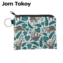Jomtokoy Cute Sloth printing waterproof Purse Card Key Pouch Small Zipper Coin Holder Mini square wallet
