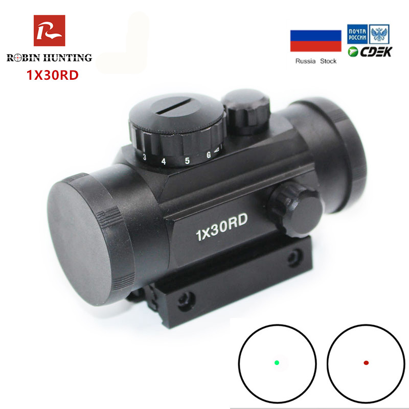 Tactical 1X30 Red Dot Sight Green Illumination Adjustable Hunting Scope With 11/20mm Dovetail Rail For Musket Shot Air Gun SG