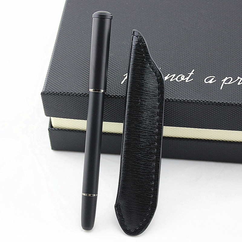 High Quality Luxury Fountain Pens Metal Iraurita Matte Black Office 0.5mm Nib Pen Writing Supplies Leather Pencil Bag