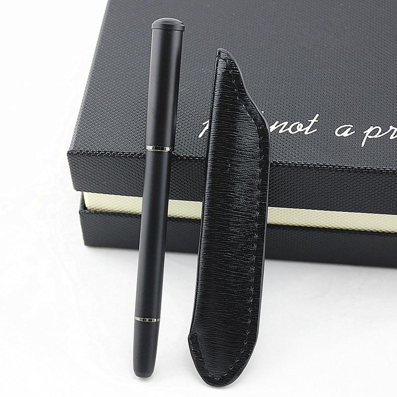 High Quality Luxury Fountain Pens Metal Iraurita Matte Black Office 0.5mm Nib Pen Writing Supplies Leather Pencil Bag