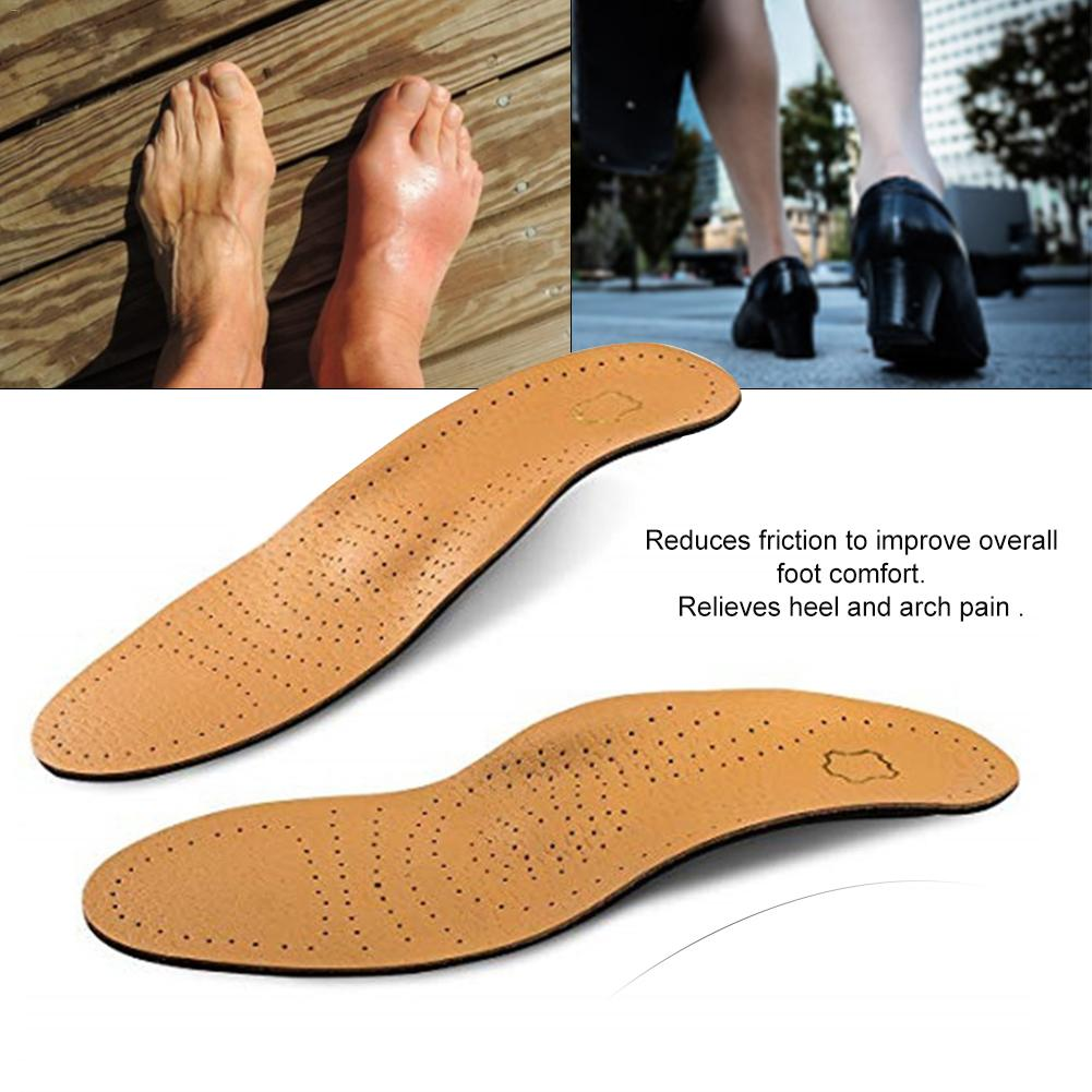 Leather Shoe Insoles Flat Foot High Arch Support Orthopedic Cushion For Feet Health Care Relieves Heel Arch Pain Plantar Fasciit