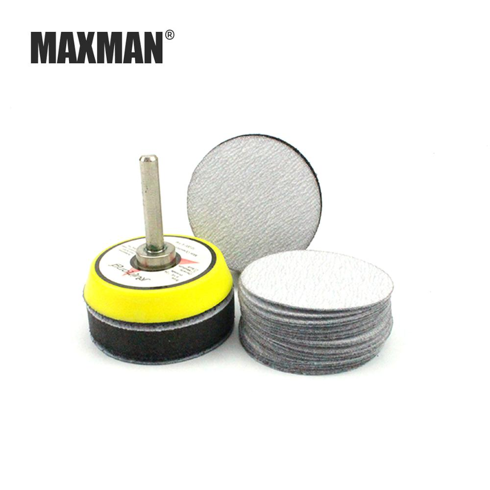 MAXMAN 2 Inch 20 Pcs Wet/Dry Sandpaper + Soft/Hard Sponge Pad + 6 MM Tray For Velcro Sand Disc Grinder Sander Wheel