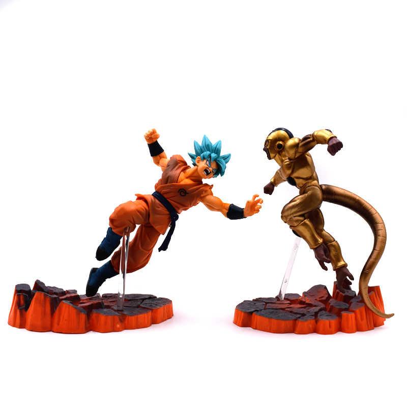 14-16 centímetros Anime Dragon Ball Z DBZ Frieza VS Son Goku PVC Action Figure Super Saiyan Goku Ouro frieza Brinquedo Modelo de Confronto
