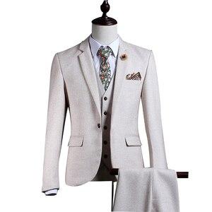Белый твидовый мужской костюм, комплект, зауженный, зимний, нежный, для выпускного, для свадьбы, смокинг, стиль жениха, 3 предмета, Terno Masculino (пи...