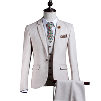 White Tweed Men Suit Set Slim Fit Winter Gentle Prom Marriage Tuxedo Style Groom 3 Piece Terno Masculino((Jacket+Pants+Vest)