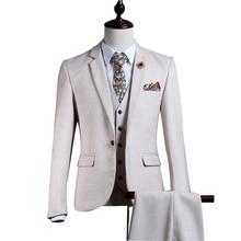 White Tweed Men Suit Set Slim Fit Winter Gentle Prom Marriage Tuxedo Style Groom