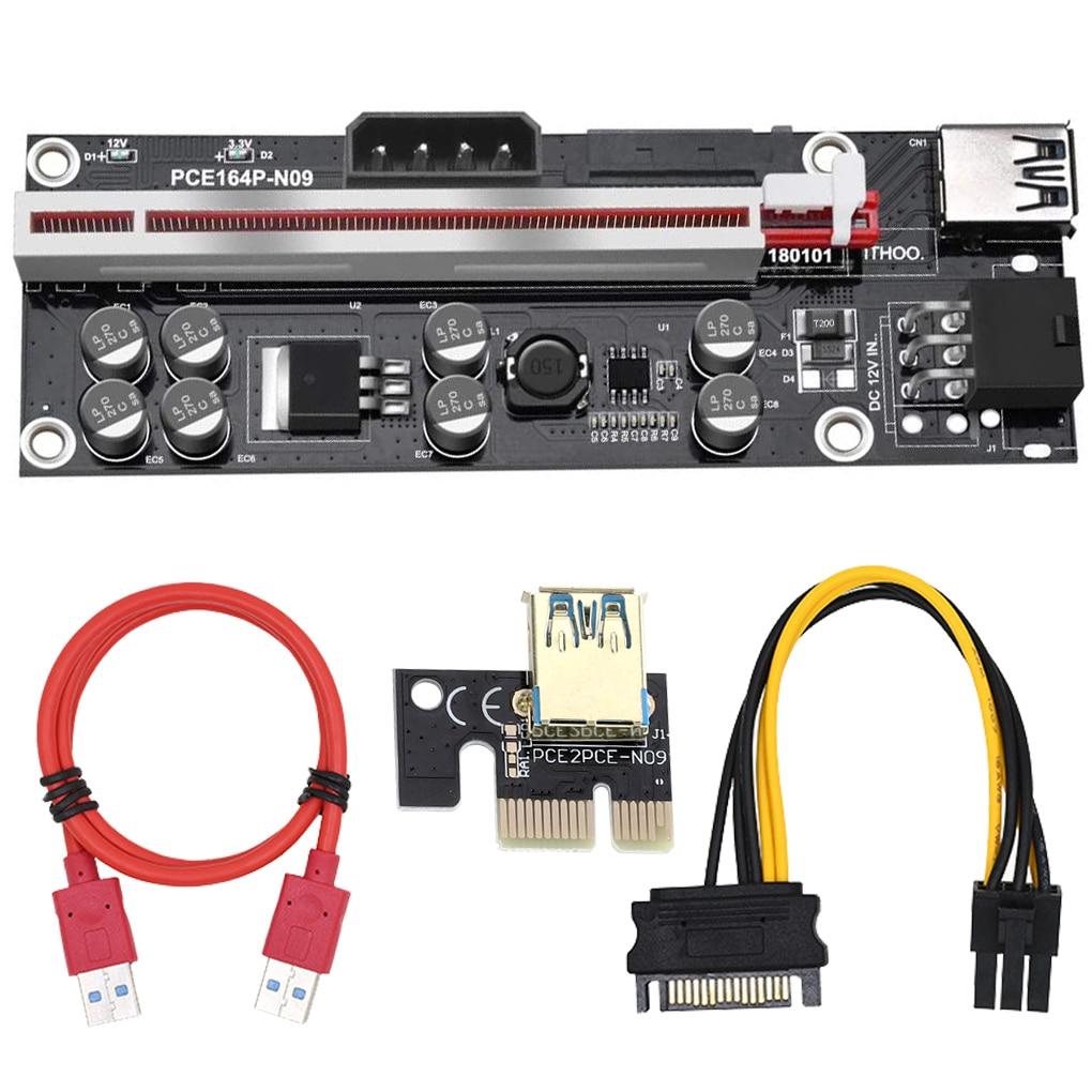 10 шт. VER009S Plus PCI-E PCIE Riser 009s 6in PCI Express адаптер карта Molex USB 3,0 кабель 1X 16X удлинитель