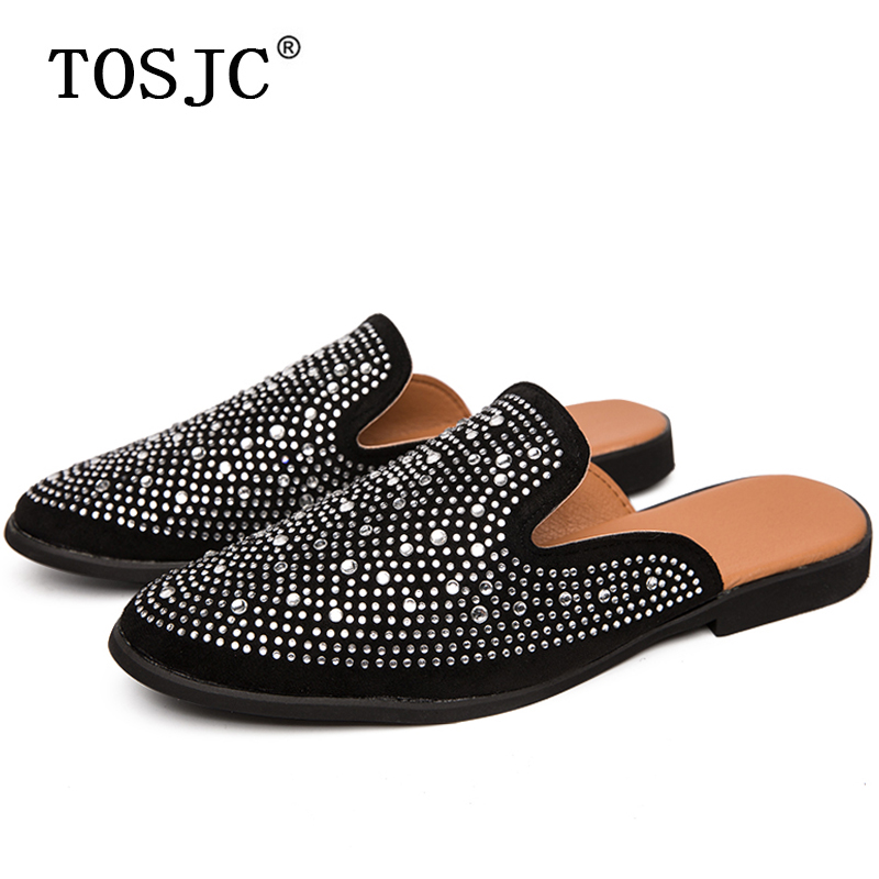 TOSJC Hot Sale Mens Mules Lightweight Half Shoes For Man Breathable Slip-on Slippers Diamond Design Half Loafers Outdoor Flats