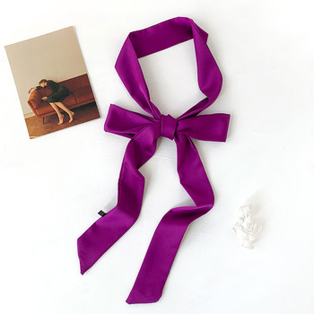 Long Skinny Scarf for Lady Neck Tie Solid Silk Hairband Foulard Female Ribbon Belt Scarves Headband Bag Decoration - discount item  50% OFF Scarves & Wraps