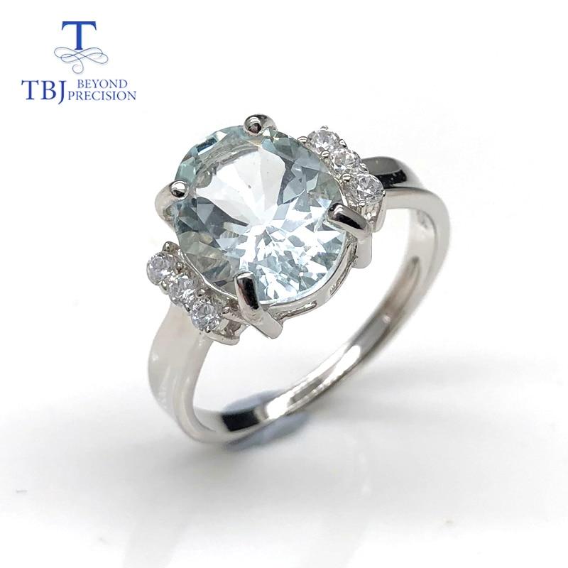 100% naturel brésil aigue-marine ovale 9*11mm couleur claire anneau de pierres précieuses 925 en argent sterling pierre précieuse bijoux avec boîte-cadeau