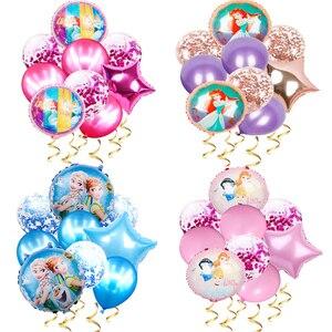 1 комплект, Эльза, Дисней, Холодное сердце, принцесса, Гелиевый шар, конфетти, латексные шары, детский душ, украшения на день рождения, детские...