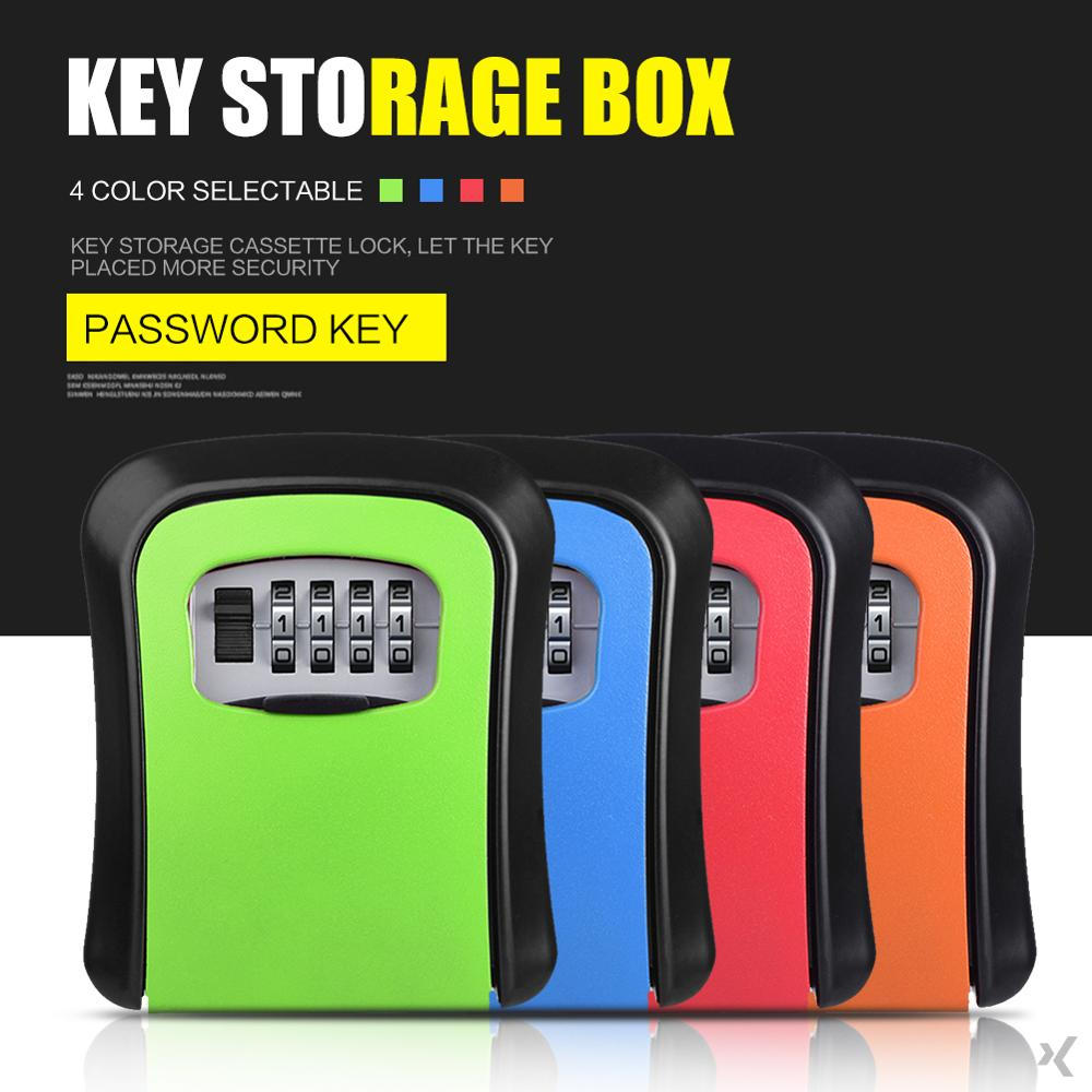 Multi-colored Key Storage Box Digit Wall Mount Combination Lock Four Password Keys Safe Box Aluminum Alloy Material Security Organizer Boxes