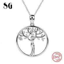 SG 100% 925 sterling silver family tree pendant chain necklace with Zirconia fashion jewelry making for women gifts