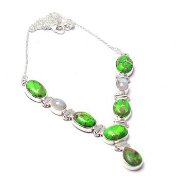 Genuine Green Turquoise Necklace 925 Sterling Silver, 44 cm, 2SN0075