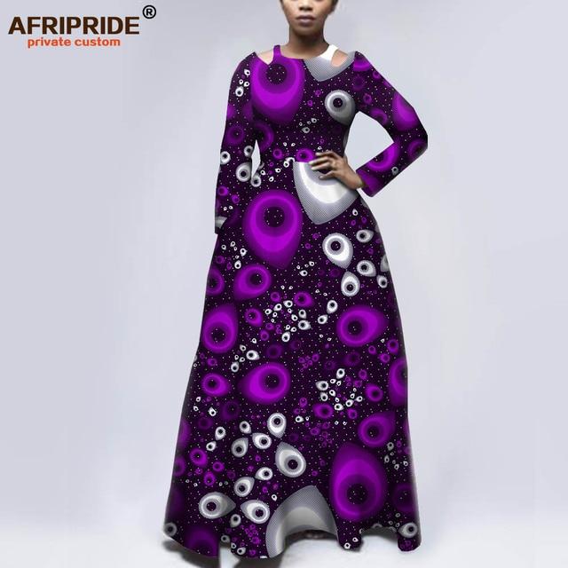 Afripride robes dimpression africaine pour les femmes sur mesure manches complètes longueur de plancher femmes ajustement et flare robe déglise A1925050