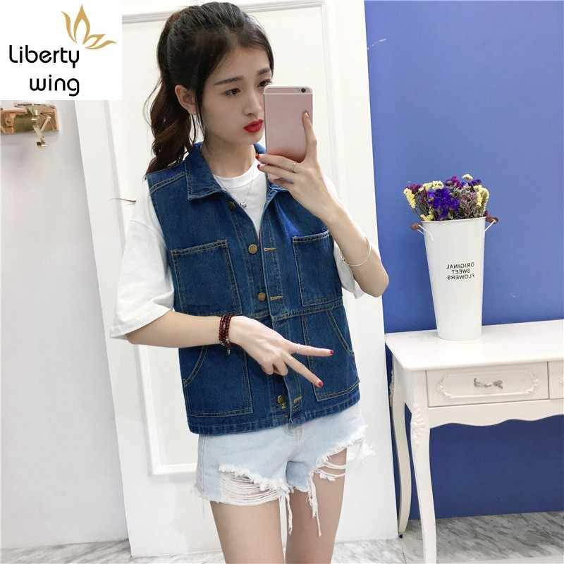 New Arrival Blue Color Design Denim Jackets Loose Women single Breasted Female Waistcoat Pockets Fashion Korean Style Vest jeans