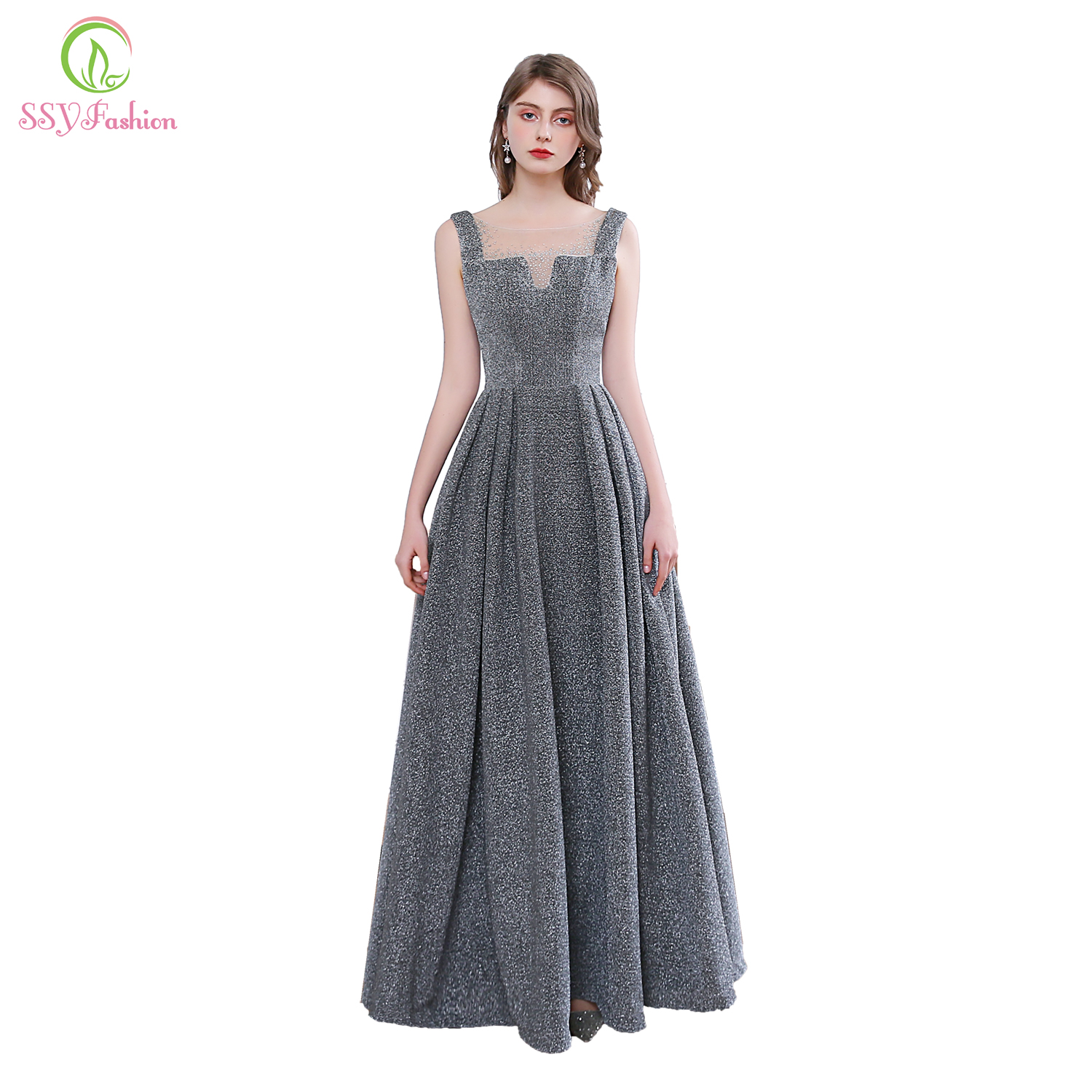 SSYFashion New Simple Grey Evening Dress Sexy Sleeveless Sequins Banquet Sparkling Long Formal Party Gowns Vestidos De Noche