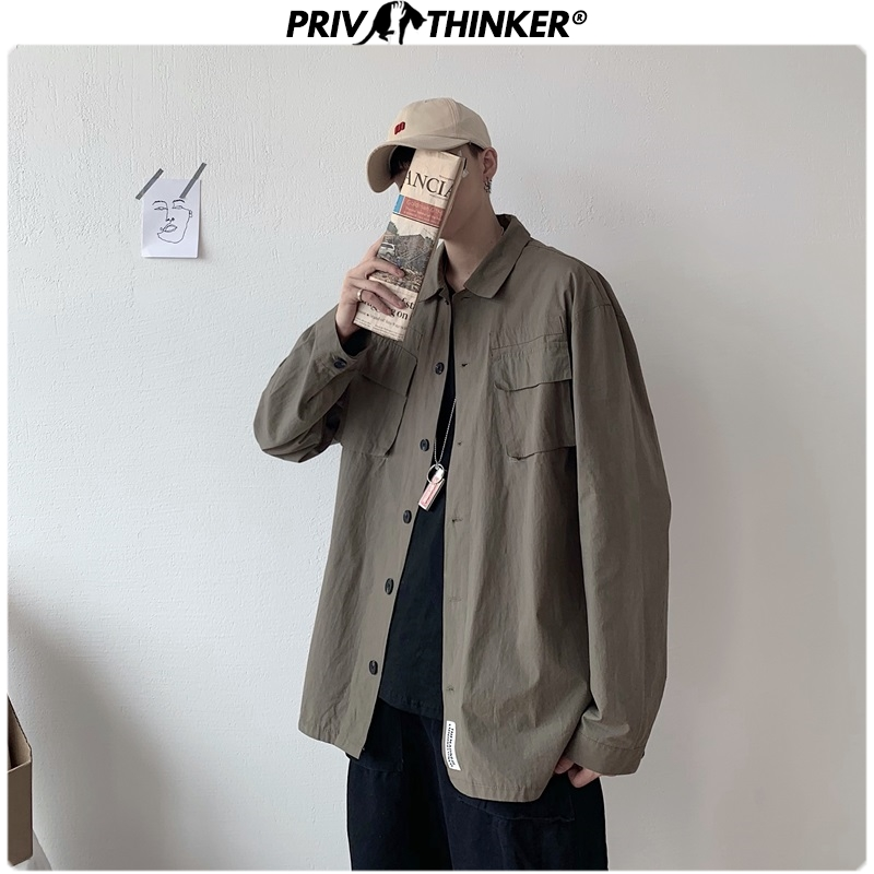 Privathinker Safari Style Casual Autumn Men's Shirts 2019 Pockets Streetweat Men Casual Shirt Vintage Long Sleeve Male Clothes