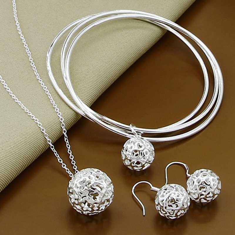High Quality 925 Sterling Silver Fashion Simple Round Ball Necklace Bangles Earrings Jewelry Set For Women Men Gift