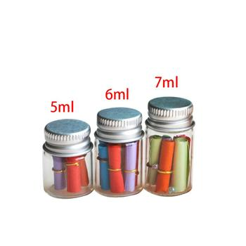 100 pcs/lot Wholesale Empty Glass Bottle Aluminium Lid Transparent Fillable Paper strip Wishing Jars Drifting Bottle Birthday