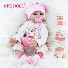 Npk boneca renascer bebê menina brinquedos 22 Polegada realista real bebê macio roupas corpo bebe artesanal kits aniversário rosa princesa