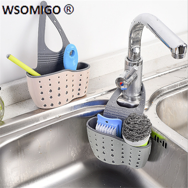 1pcs Kitchen Tools Organizer Adjustable Snap Sink Soap Sponge Kitchen Accessories Kitchen Hanging Drain Basket Kitchen Gadgets-S(China)