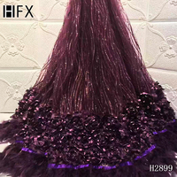 HFX 3D Lace Fabric 2019 High Quality African Lace Fabric French Lace Fabric purple lace Applique Trimmings For Sewing H2899