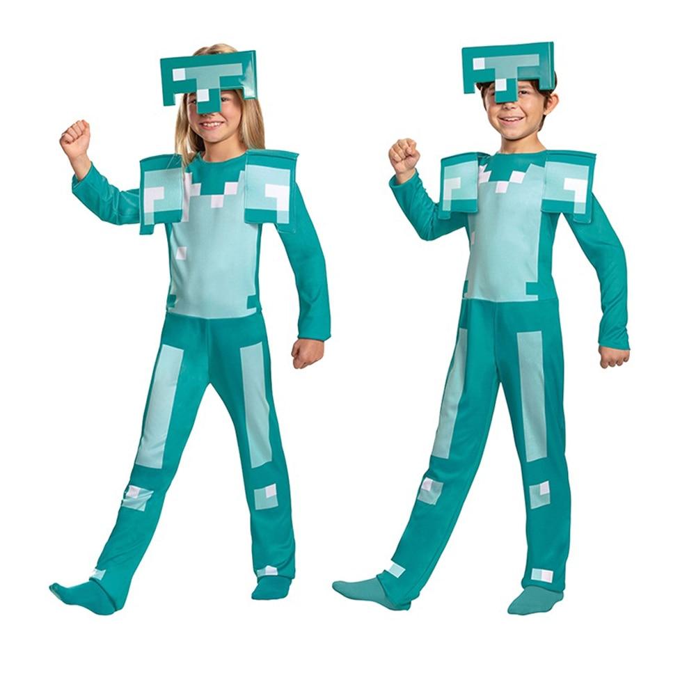 Kids Boys Girls Game Role Play Jumpsuit Diamond Armor Halloween Cosplay Costume Children Anime Performance Bodysuit with Mask