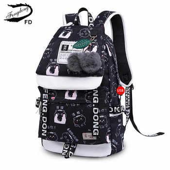 FengDong cute cat printing school backpack for girls waterproof book bag children school bags female travel laptop backpack usb - DISCOUNT ITEM  44 OFF Luggage & Bags