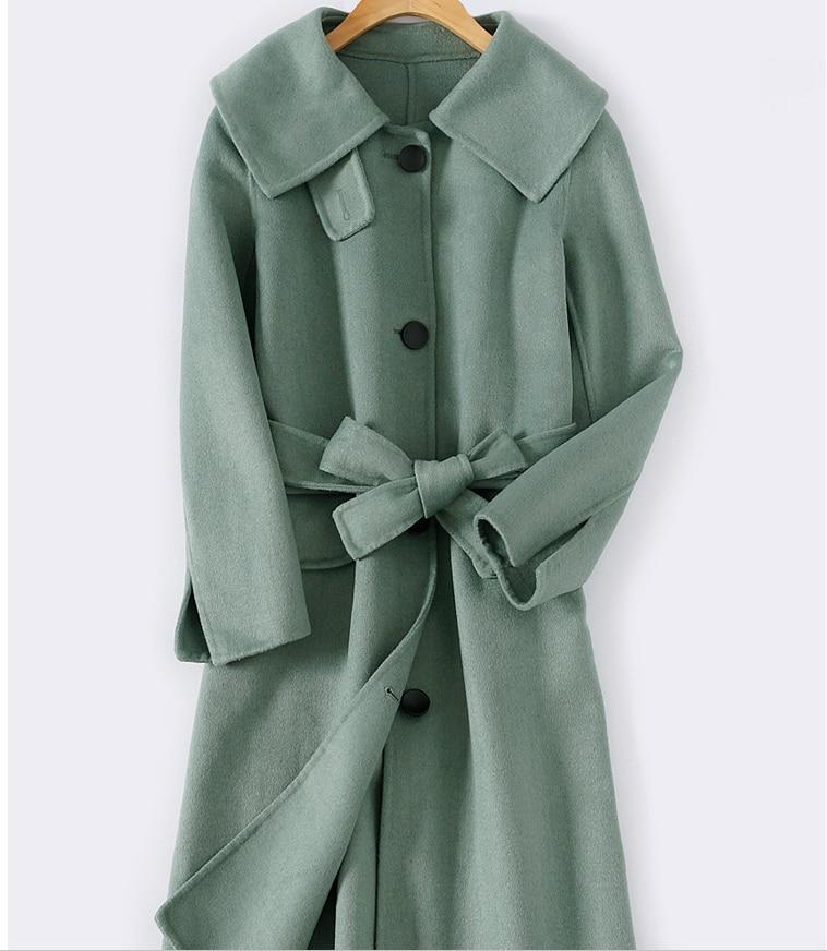يدوية الصوف معطف الشتاء 2019 جديد الوجهين النساء الكشمير معطف الخريف الصوف معاطف طويلة سترة كبيرة طوق