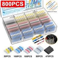 800 Uds conectores de alambre de sellado de soldadura termorretráctil conectores con anillo de soldadura eléctrica aislada casa impermeable de terminales