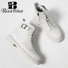 RIZABINA nowych kobiet prawdziwe skórzane botki grube dno buty na zamek kobieta zimowe ciepłe buty moda fajne obuwie rozmiar 34-40