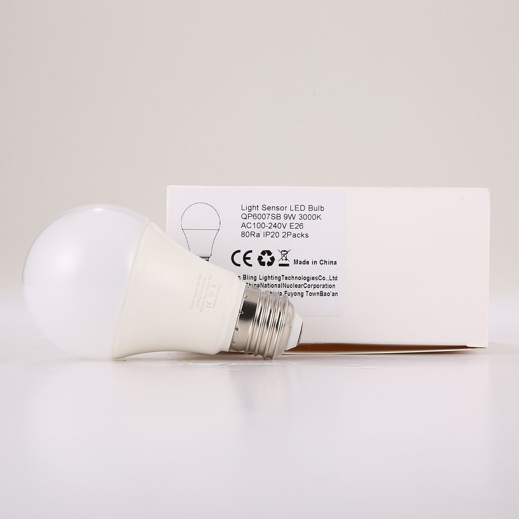 9W E26 Intelligent Light Sensor LED Bulb 3000K with Auto Switch Outdoor/Indoor Lamp Built-in Photosensor Detection