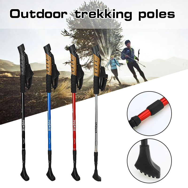 1Pcs Anti Shock 3-Sections Nordic Walking Sticks Telescopic Adjustable Hiking Poles Ultra Walking Canes With Rubber For Outdoor