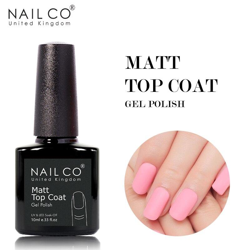 NAILCO 10 мл матовая Топ Гель-лак для ногтей матовый лаки для ногтей Топ гель грунтовка, база, основа, дизайн ногтей маникюр матовый прозрачный Л...