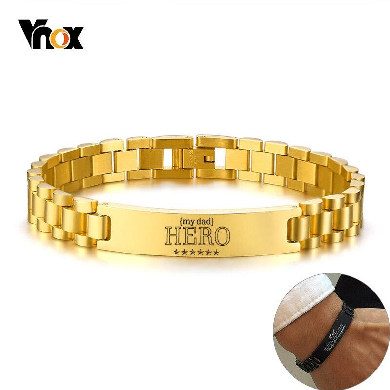 Vnox Mein Vater HERO Armbänder Personalisierte Zitate Männer Armband Qualifizierte Edelstahl ID Armreif Vater der Tag Geschenk 19,5 cm/21cm